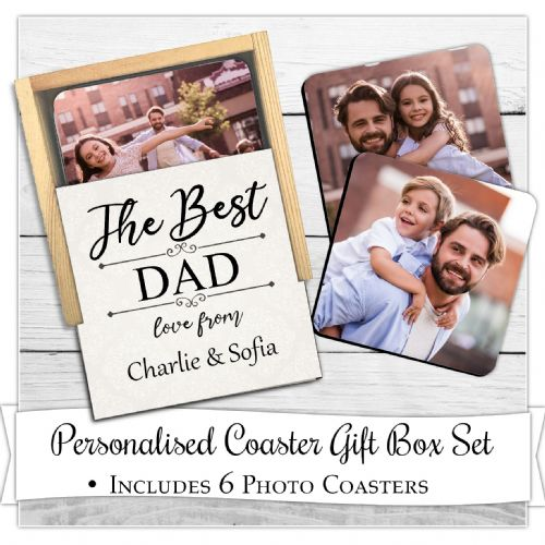 Personalised Coaster Gift Box with 6 Photo Coasters N2 ~ Best Mum Dad Grandad Grandma